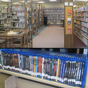 Picture of books, chess board, and blu-ray movies.